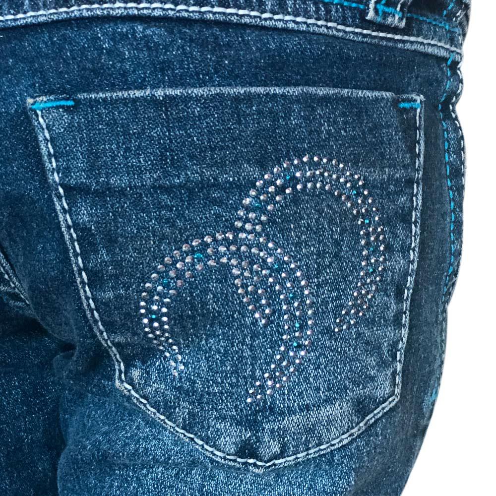 Calça Jeans Infantil Feminina Cowboys Flare Com Strass Azul e Ferraduras