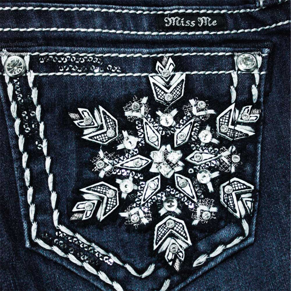 Calça Miss Me Feminina Importada Azul Stonada Low Rise Flocos de Neve