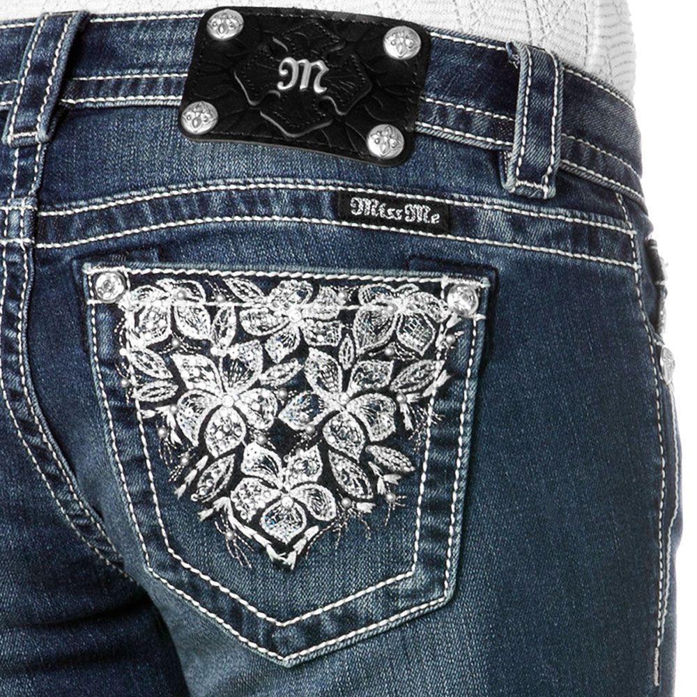 Calça Jeans Feminina Miss Me Azul Flores Strass
