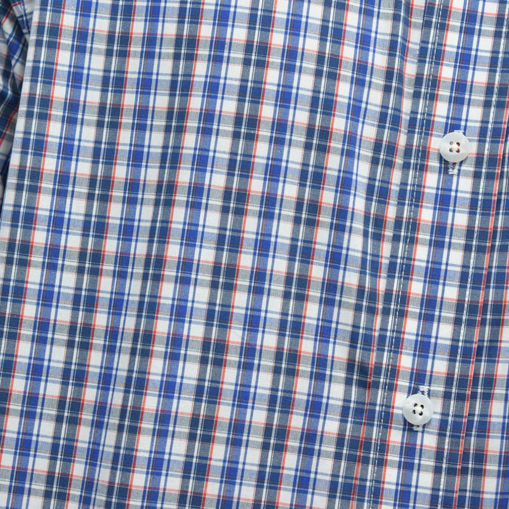 Camisa Ariat Manga Longa Xadrez Azul, Branco e Laranja