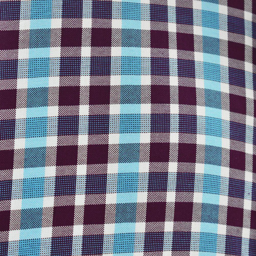 Camisa Ariat Manga Longa Xadrez Azul Claro, Marsala e Branco