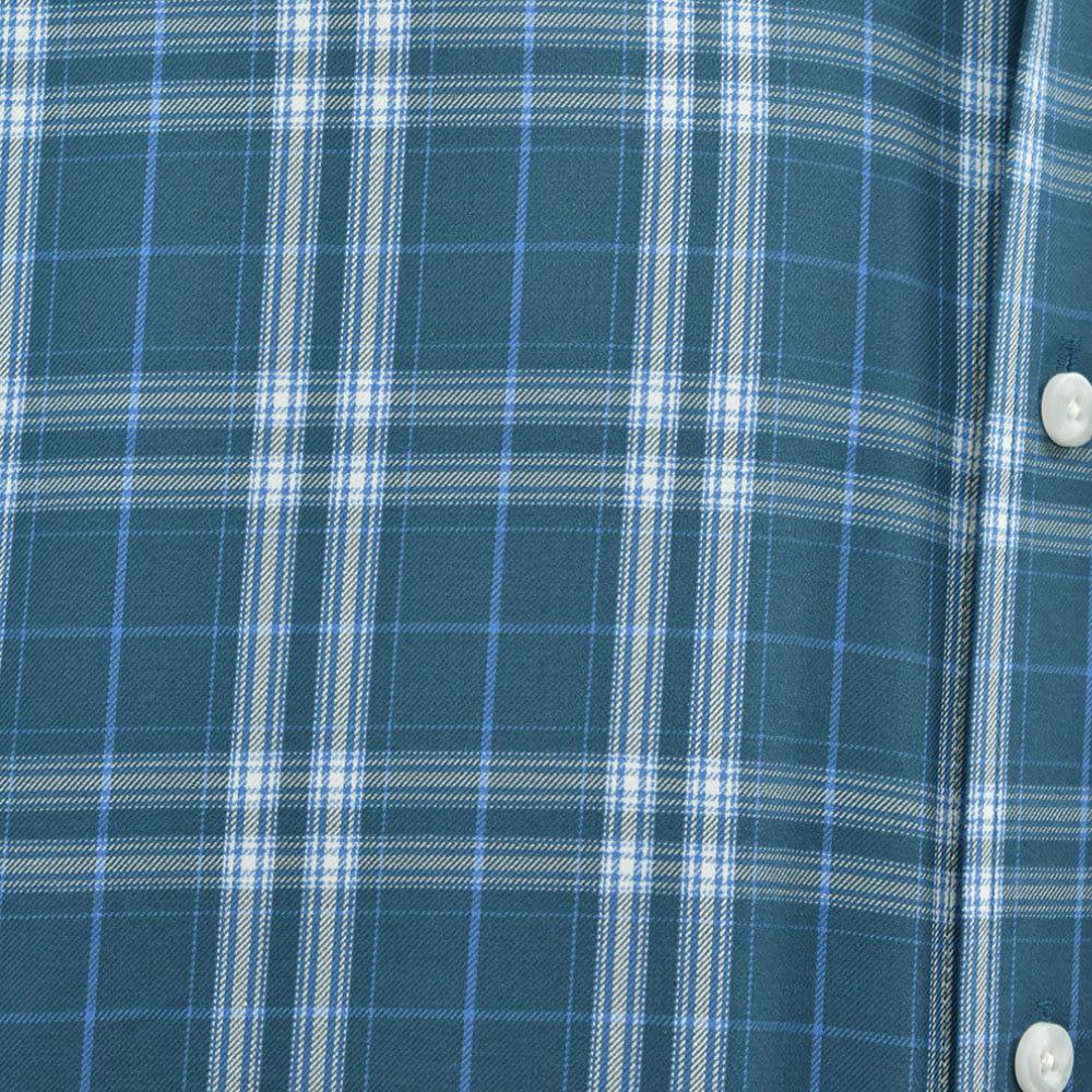 Camisa Ariat Manga Longa Xadrez Azul Escuro e Branco