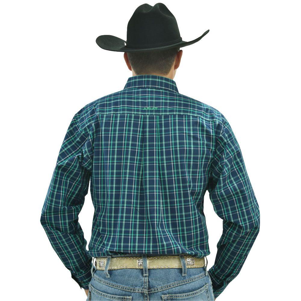 Camisa Ariat Manga Longa Xadrez Azul Marinho, Verde e Branco