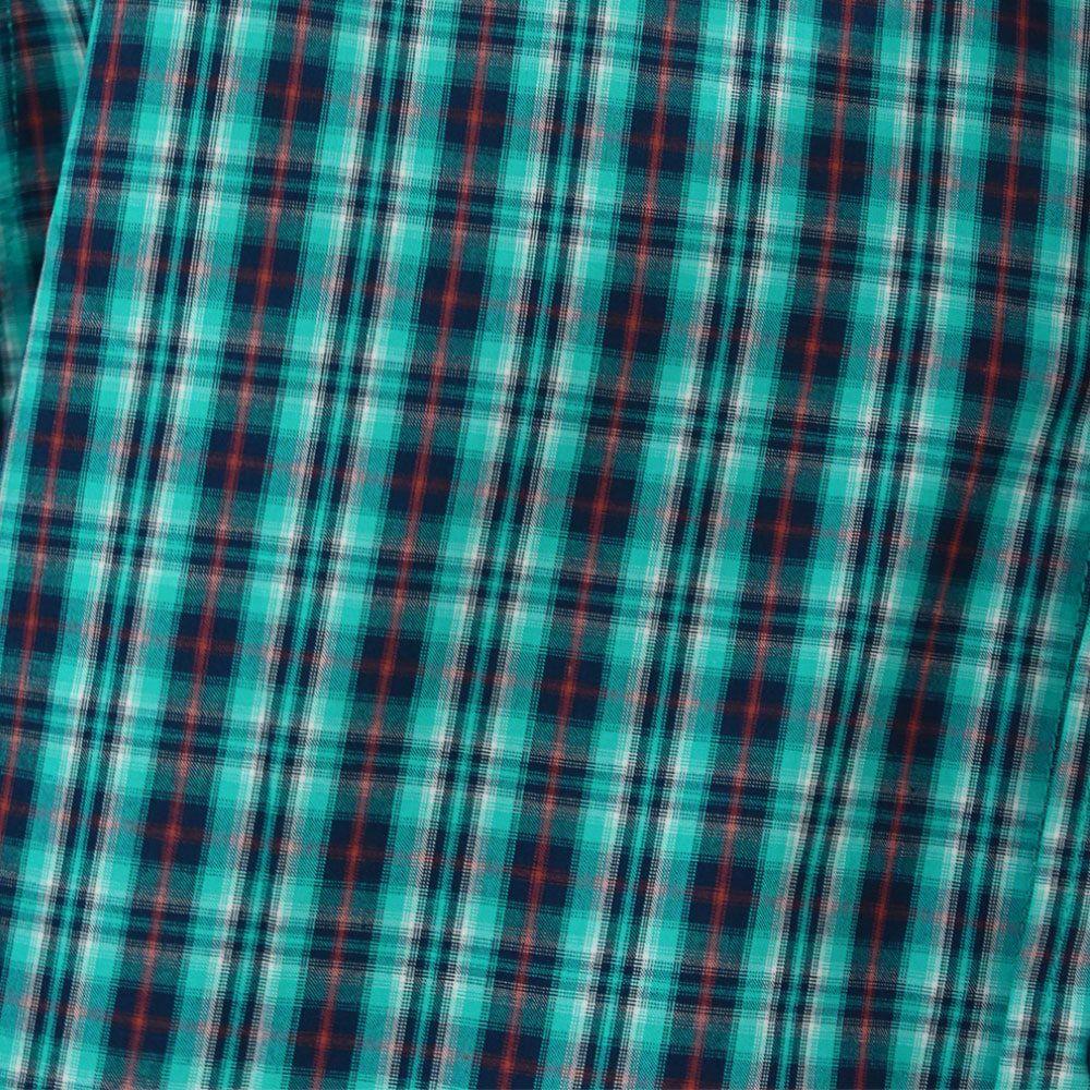 Camisa Ariat Manga Longa Xadrez Turquesa Detalhes Vermelhos
