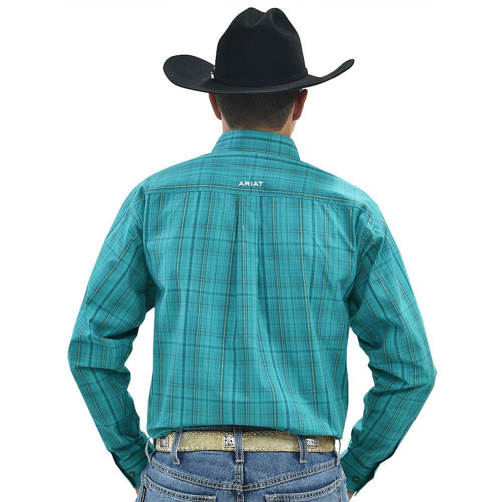 Camisa Ariat Manga Longa Xadrez Verde e Laranja