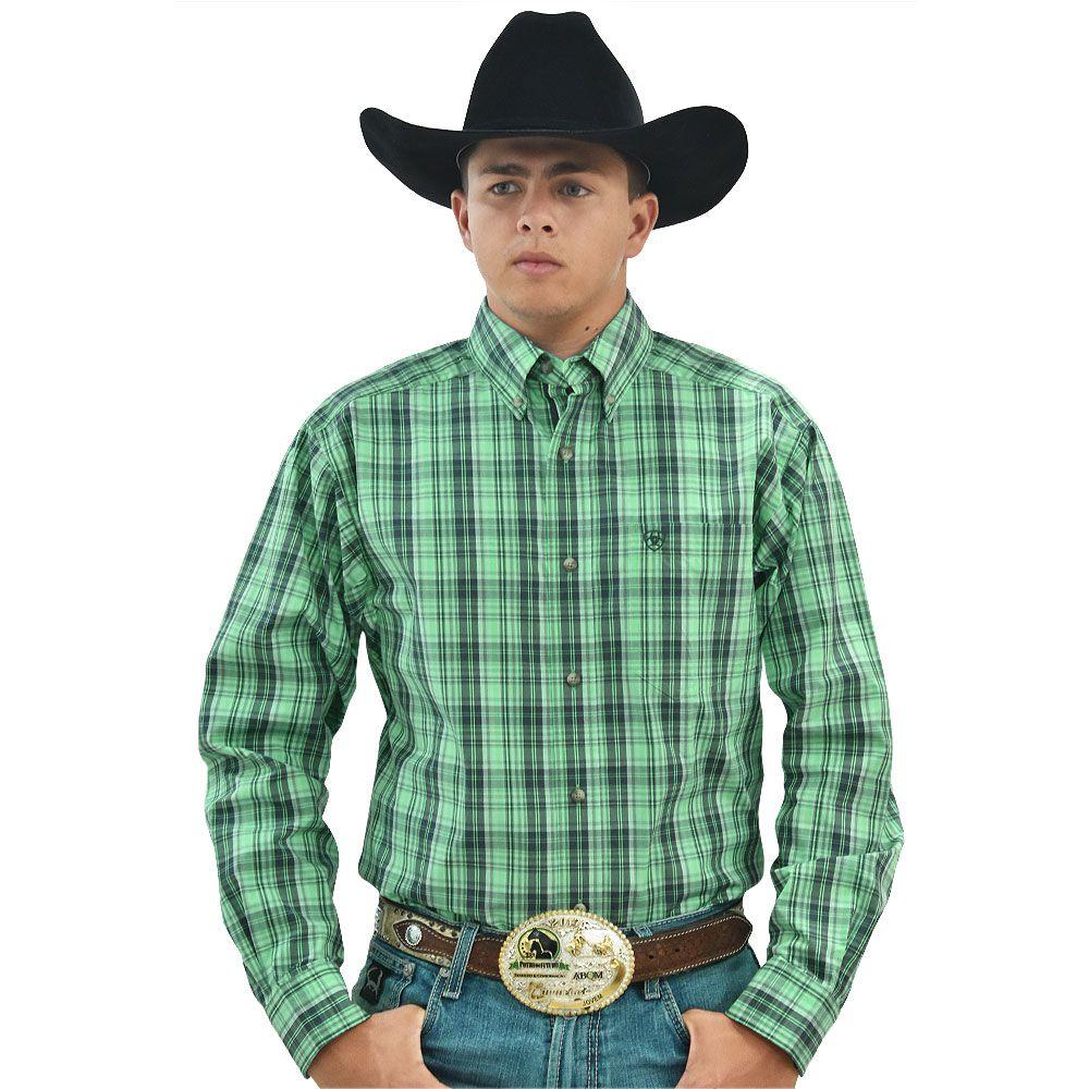 Camisa Ariat Manga Longa Xadrez Verde, Preto e branco