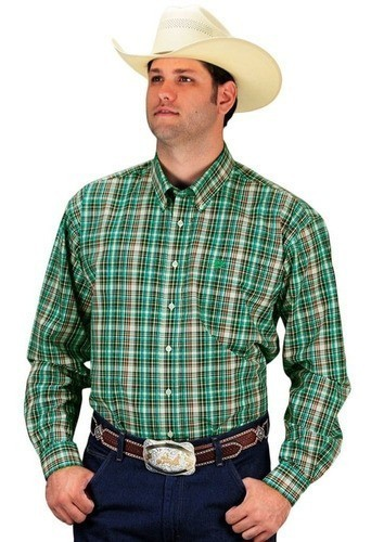 Camisa Cinch Masculina Xadrez Manga Longa Tons de Verde