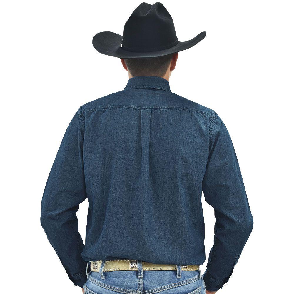 Camisa Cowboys Manga Longa Dois Bolsos Jeans Escuro