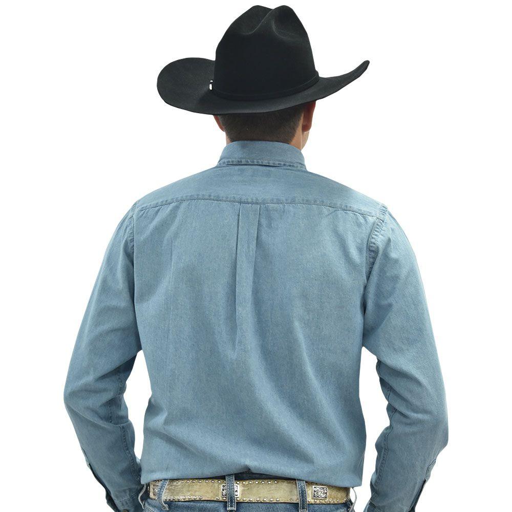Camisa Cowboys Manga Longa Jeans Claro