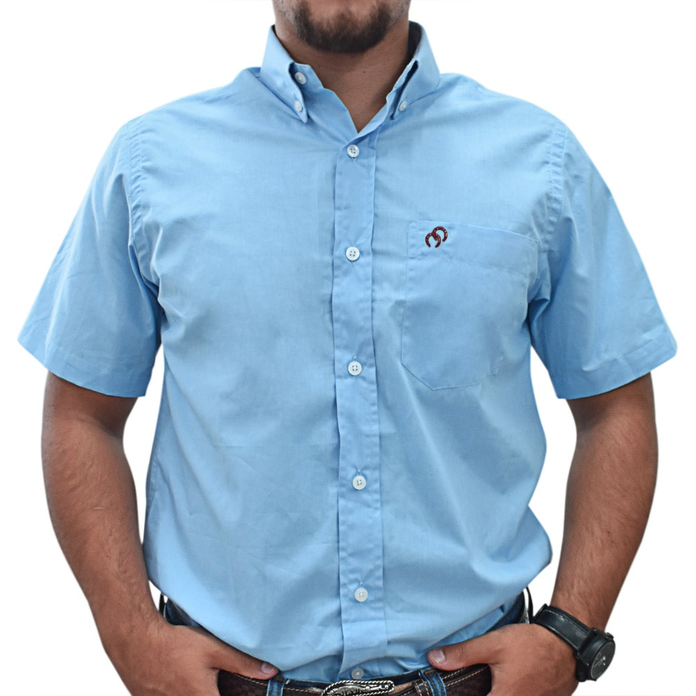 Camisa Cowboys Manga Curta Lisa Azul Claro