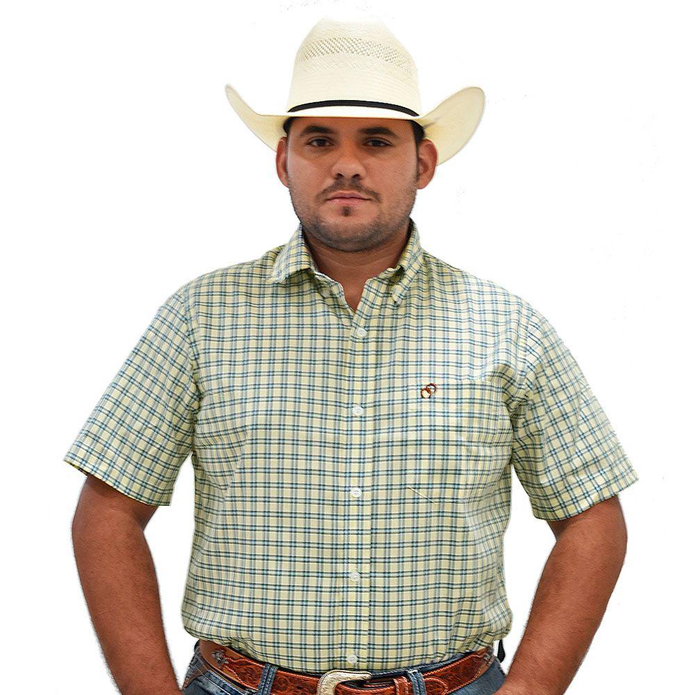 Camisa Cowboys Manga Curta Xadrez Amarelo e Azul