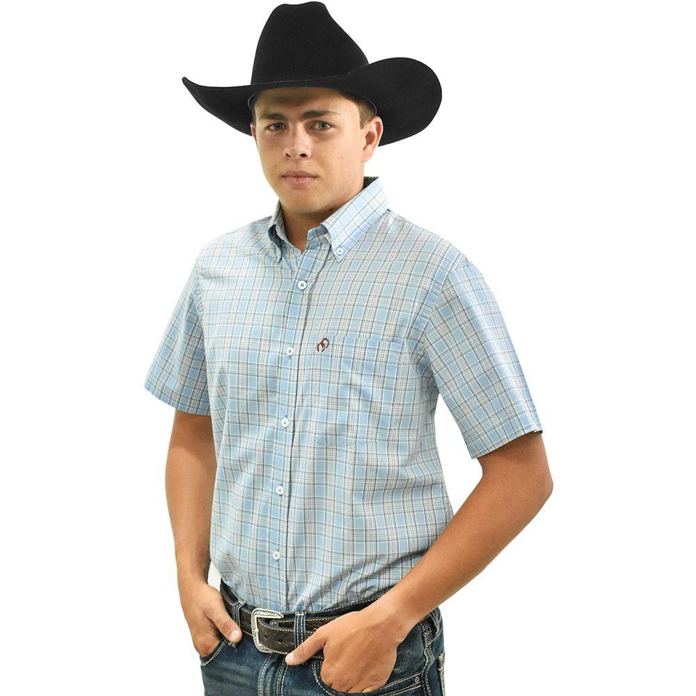 Camisa Cowboys Manga Curta Xadrez Azul Claro