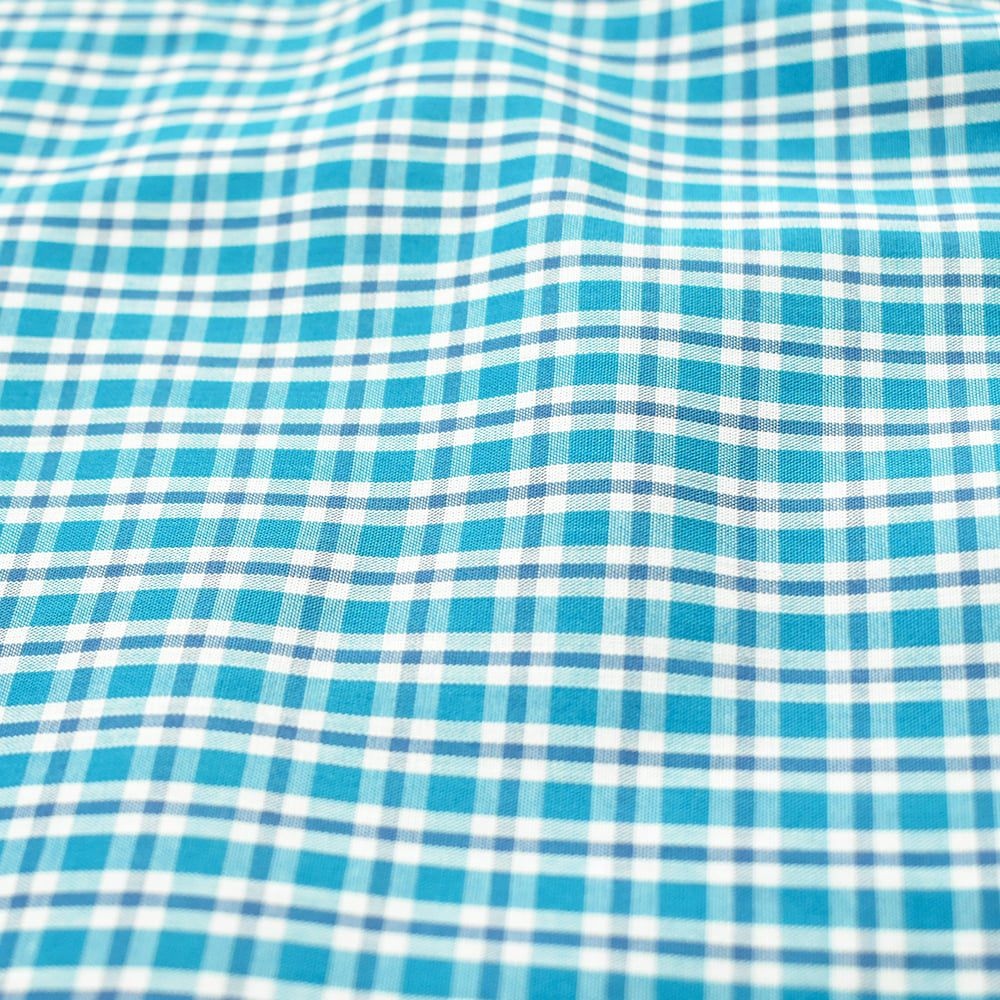 Camisa Cowboys Manga Curta Xadrez Azul e Branco