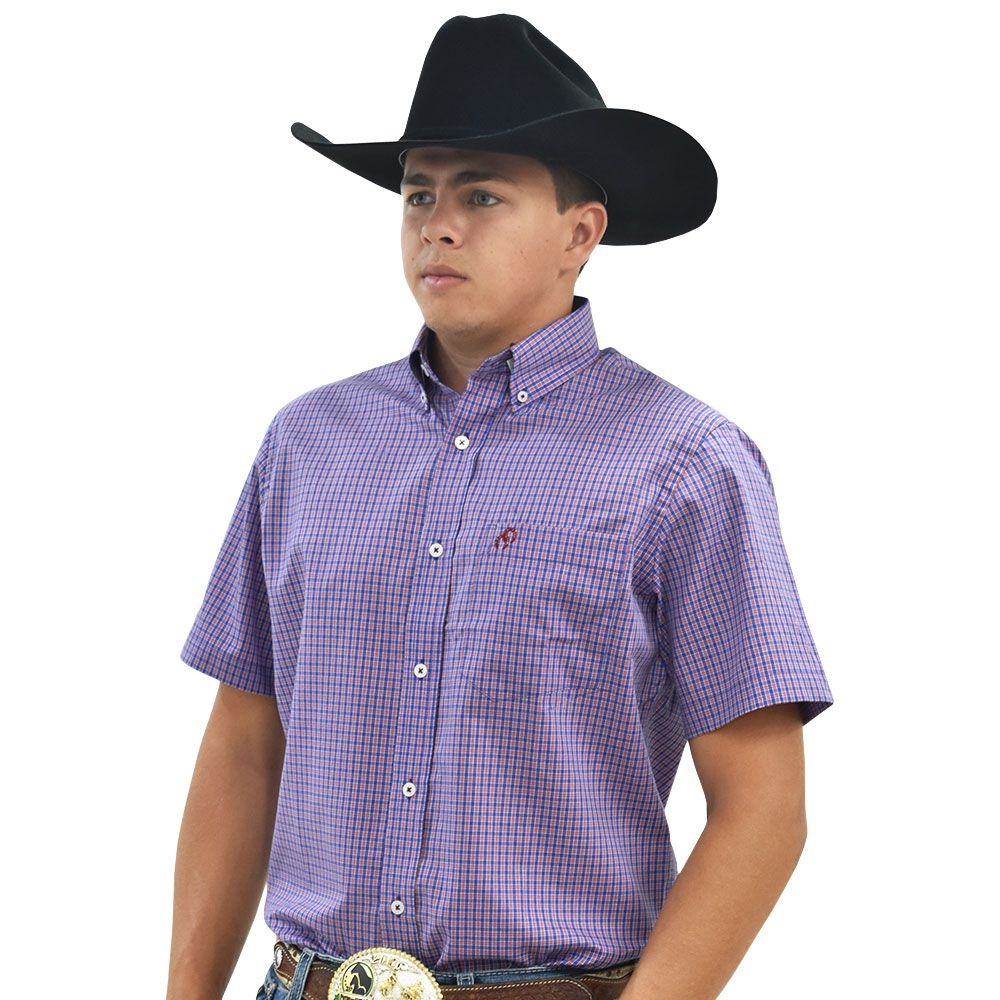 Camisa Cowboys Manga Curta Xadrez Azul e Laranja