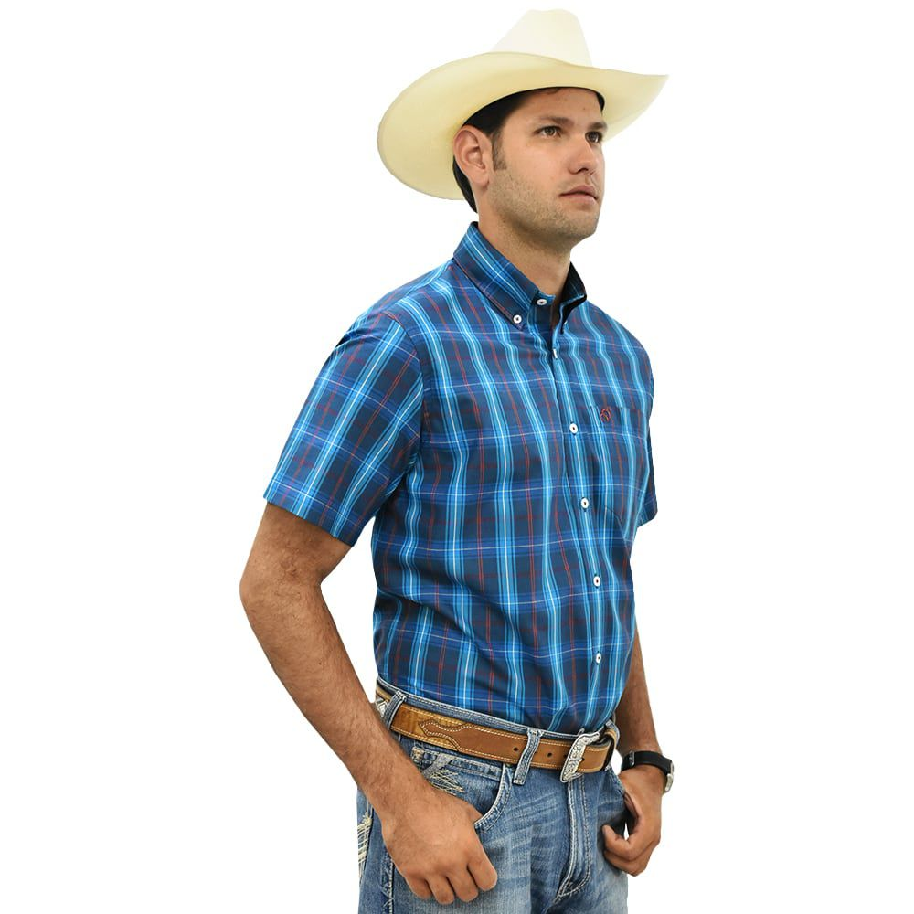 Camisa Cowboys Manga Curta Xadrez Azul e Vermelho