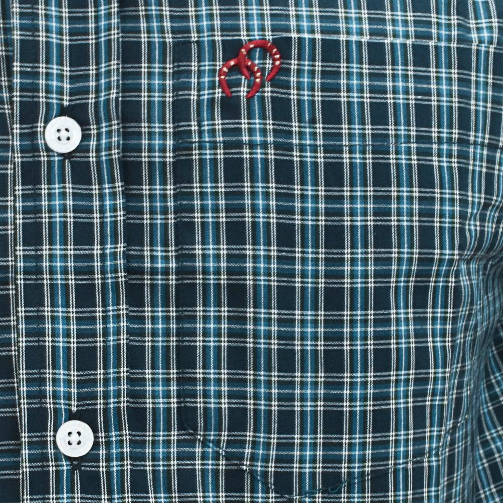 Camisa Cowboys Manga Curta Xadrez Azul Escuro, Branco e Azul Claro