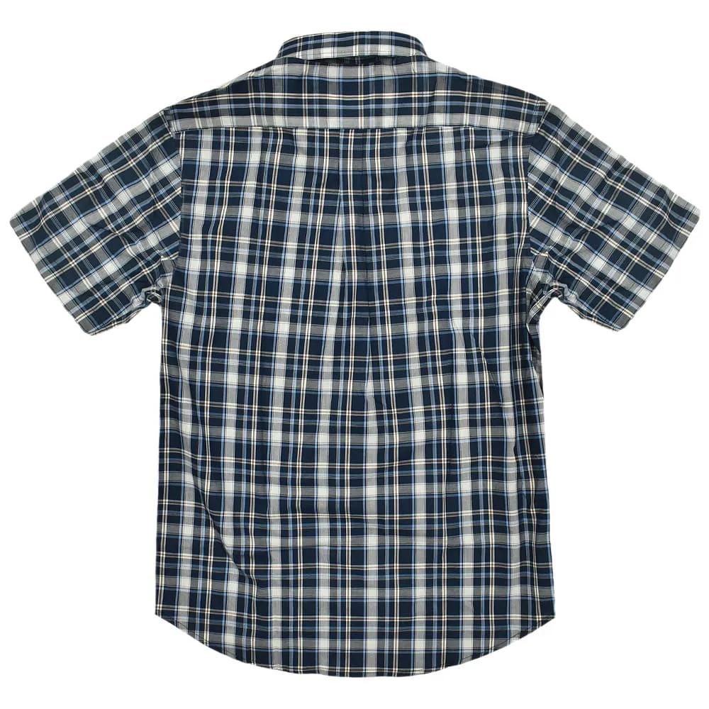 Camisa Cowboys Manga Curta Xadrez Azul Marinho, Branco e Marrom