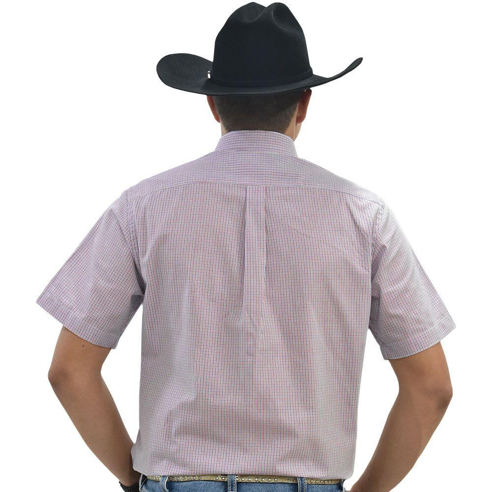 Camisa Cowboys Manga Curta Xadrez Branco, Azul e Vermelho