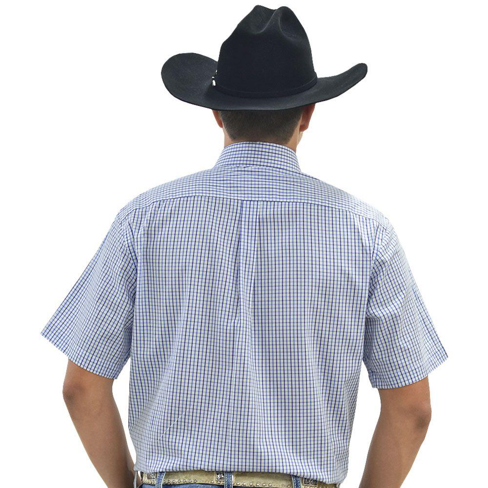 Camisa Cowboys Manga Curta Xadrez Branco e Tons de Azul