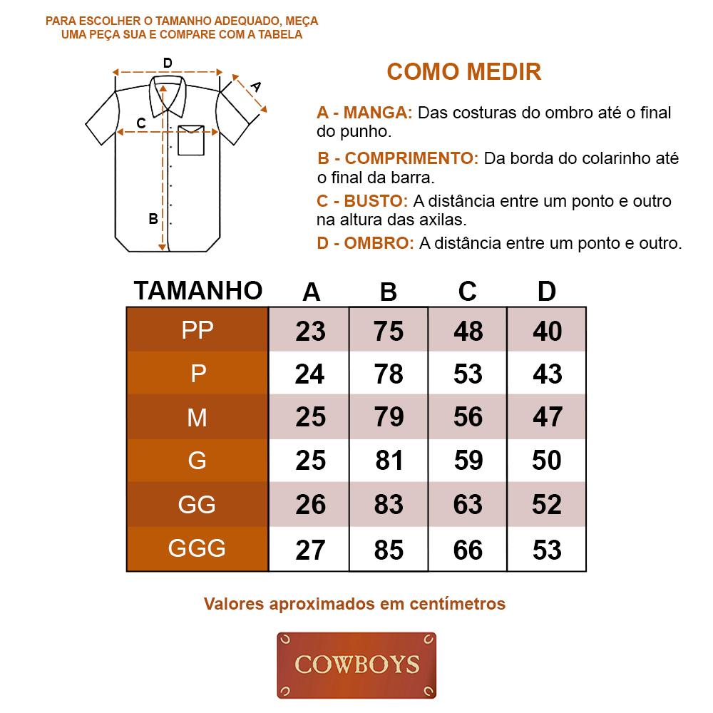 Camisa Cowboys Manga Curta Xadrez Branco, Lilás e Laranja