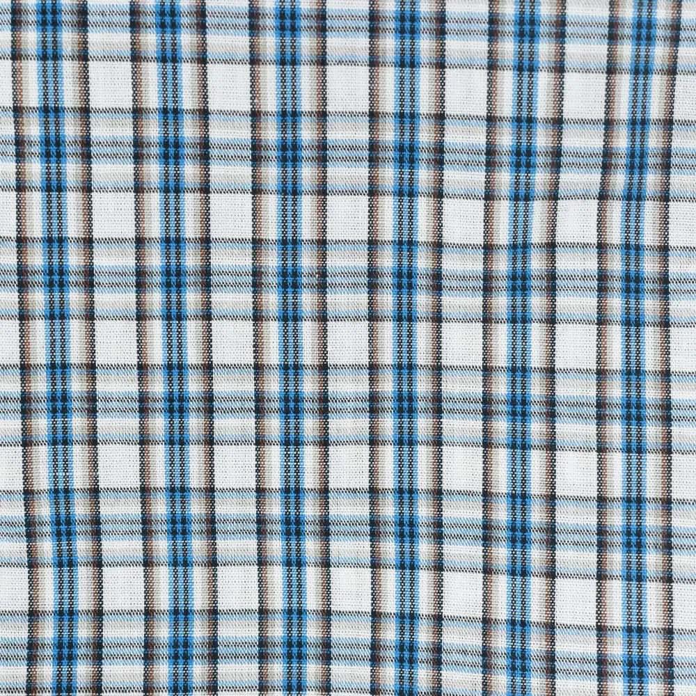 Camisa Cowboys Manga Curta Xadrez Branco, Marrom e Azul