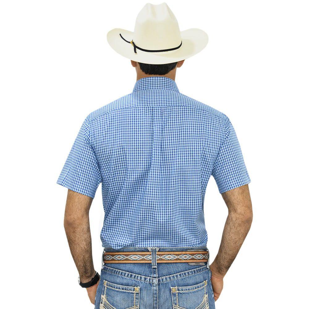 Camisa Cowboys Manga Curta Xadrez Tons de Azul e Branco