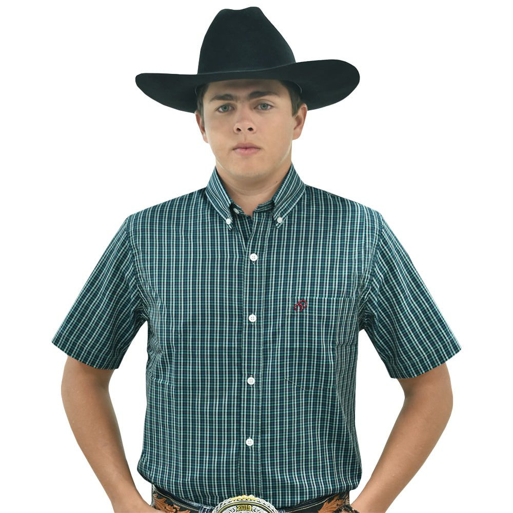 Camisa Cowboys Manga Curta Xadrez Tons de Verde e Cinza