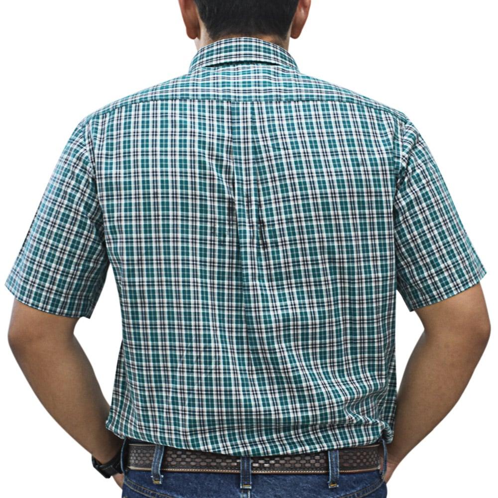 Camisa Cowboys Manga Curta Xadrez Verde, Azul Marinho e Cinza