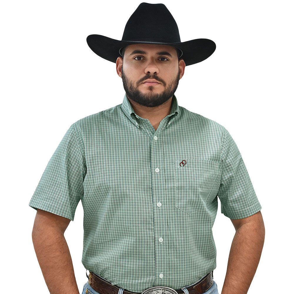 Camisa Cowboys Manga Curta Xadrez Verde e Preto