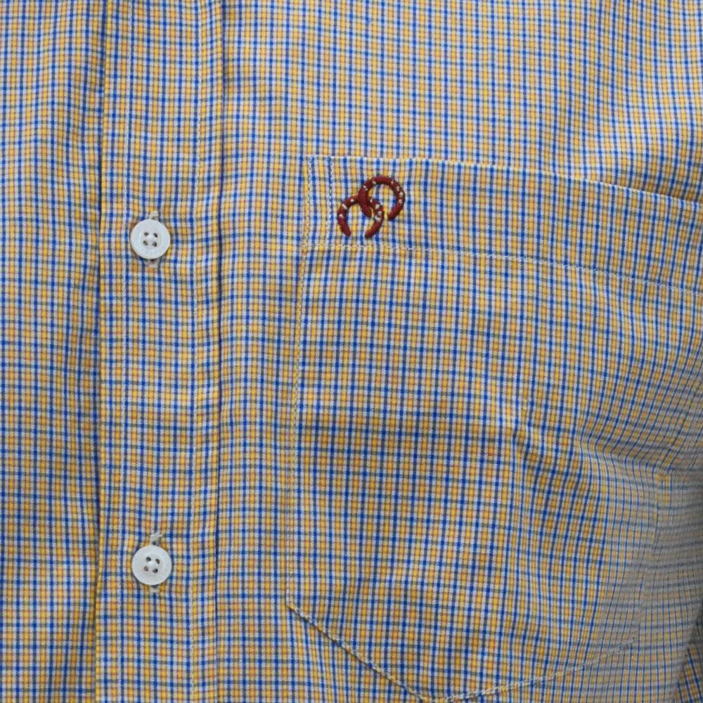 Camisa Cowboys Manga Longa Pai, Mãe e Filho Xadrez Amarelo, Azul e Branco