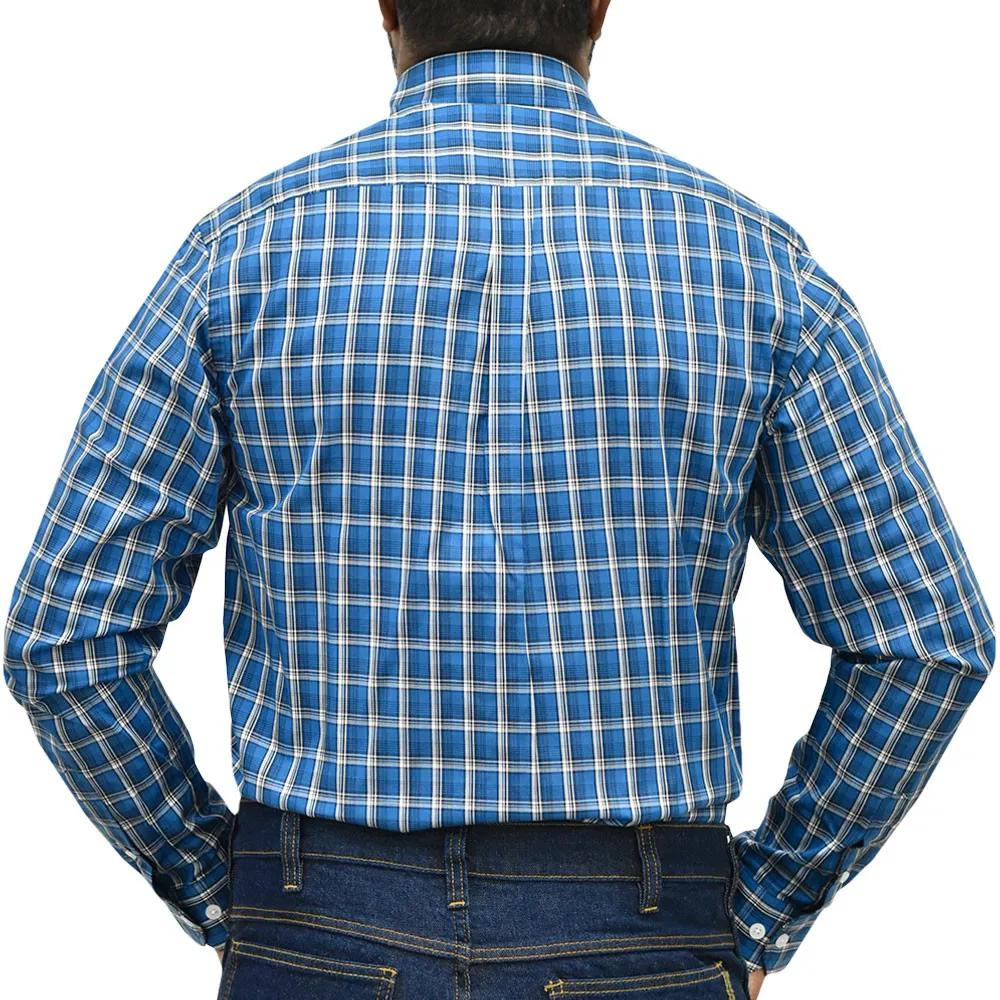 Camisa Cowboys Pai e Filho Manga Longa Xadrez Azul, Preto e Branco