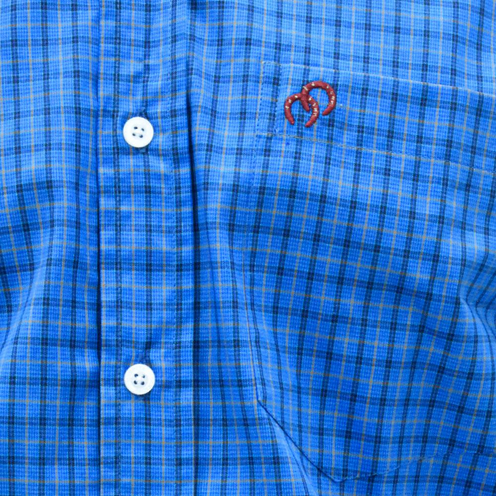 Camisa Cowboys Manga Longa Pai e Filho Xadrez Azul, Preto e Laranja