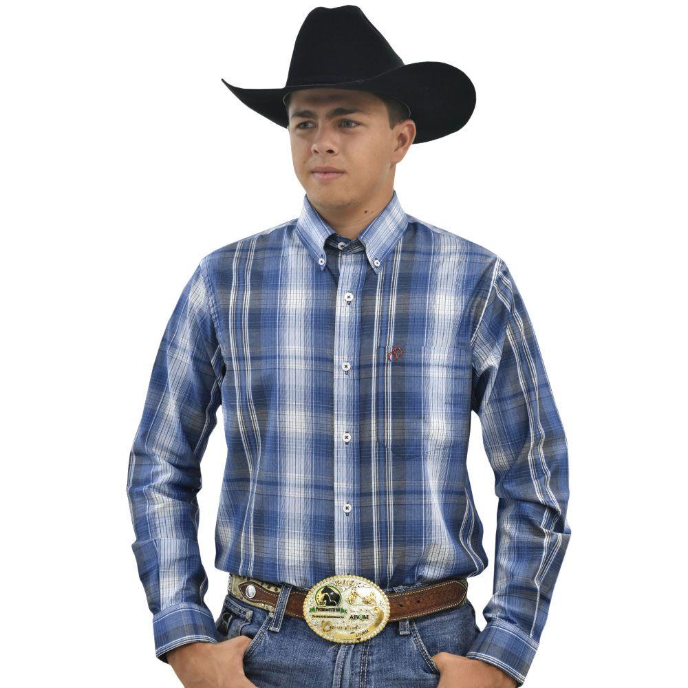 Camisa Cowboys Manga Longa Xadrez  Azul, Branco e Cinza