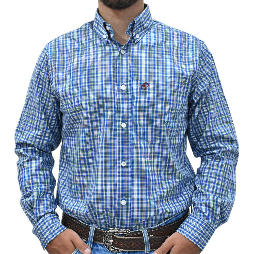 Camisa Cowboys Manga Longa Pai e Filho Xadrez Azul, Branco e Marrom