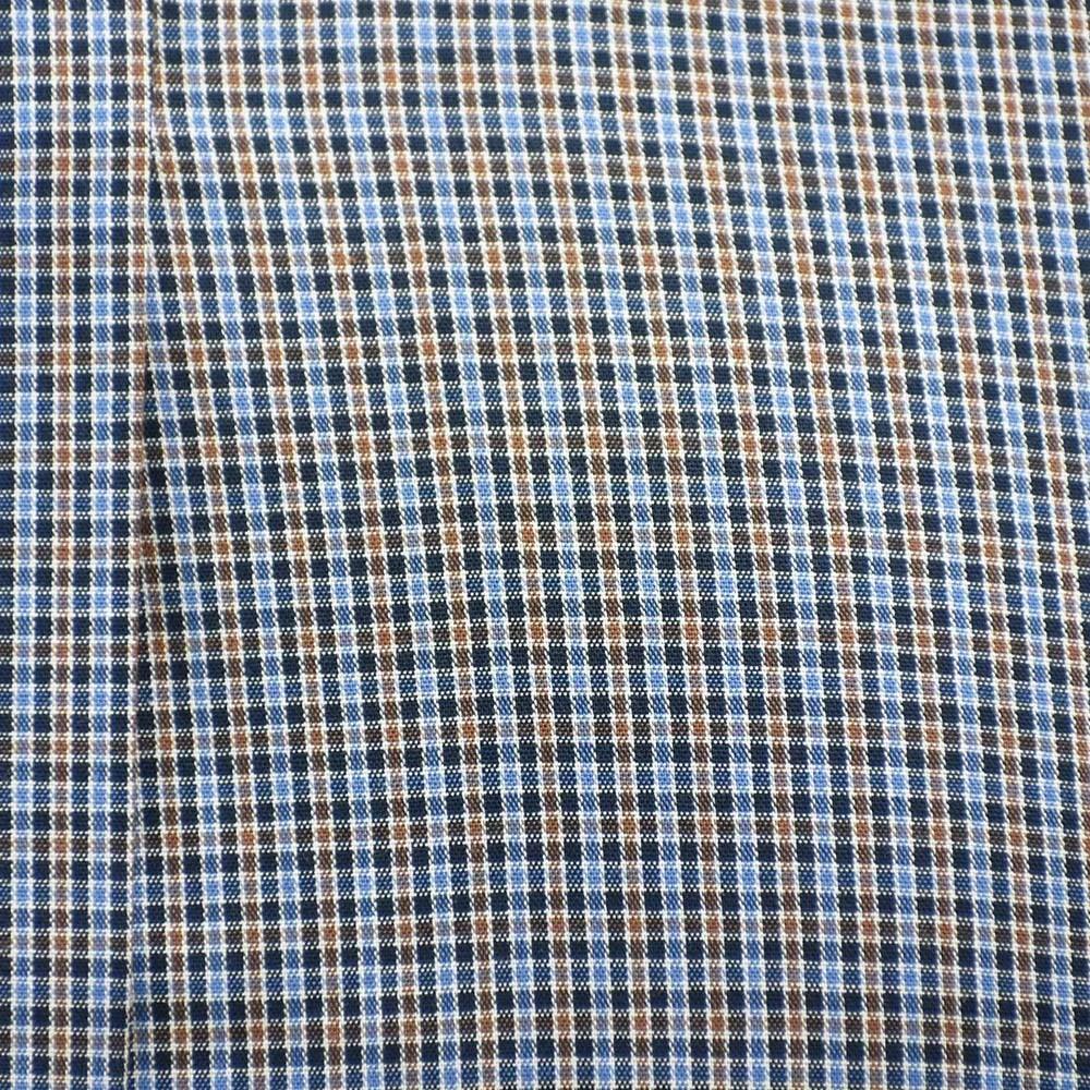 Camisa Cowboys Manga Longa Xadrez Azul e Bege