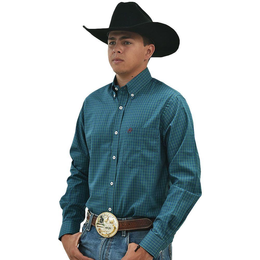 Camisa Cowboys Manga Longa Xadrez Azul e Verde