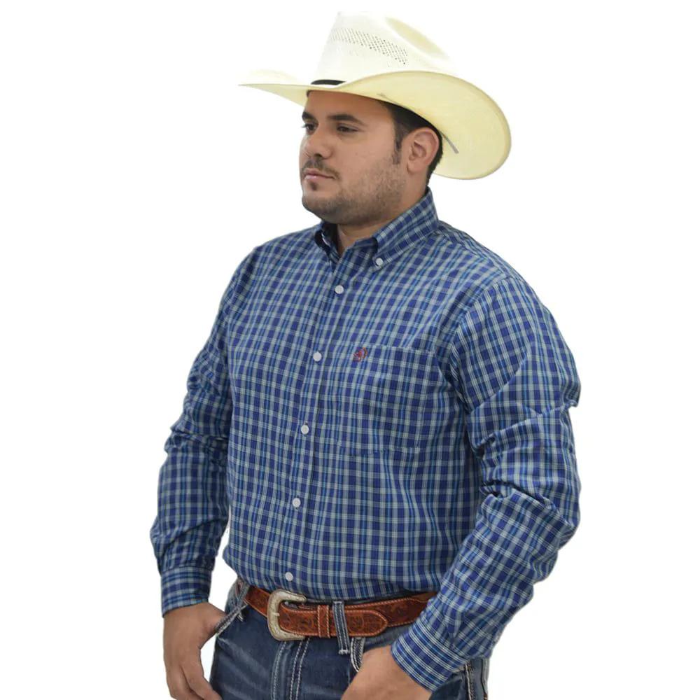Camisa Cowboys Manga Longa Xadrez Azul Escuro