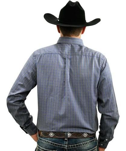 Camisa Cowboys Manga Longa Xadrez Azul Royal e Laranja
