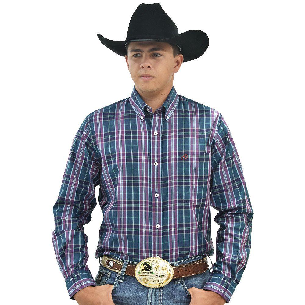 Camisa Cowboys Manga Longa Xadrez Marsala, Verde e Azul