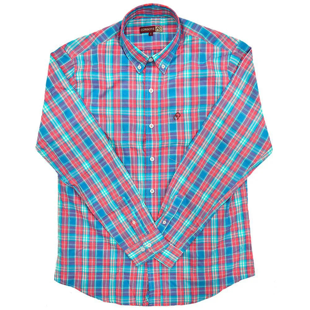 Camisa Cowboys Manga Longa Xadrez Rosa e Azul