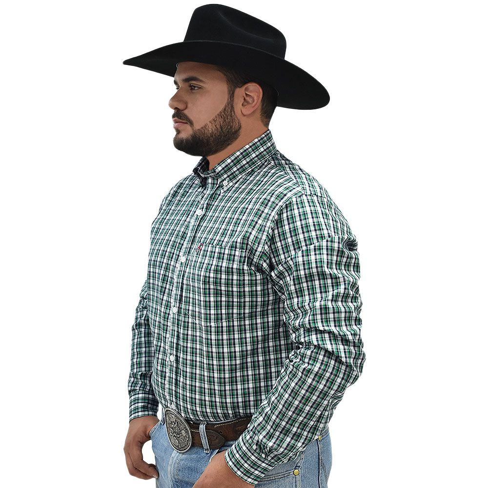 Camisa Cowboys Pai e Filho Manga Longa Xadrez Verde, Branco e Preto