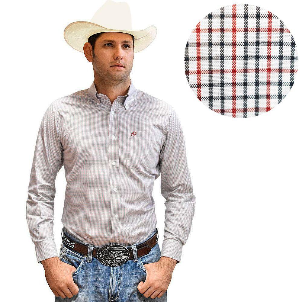 Camisa Cowboys Xadrex Azul e Vermelho