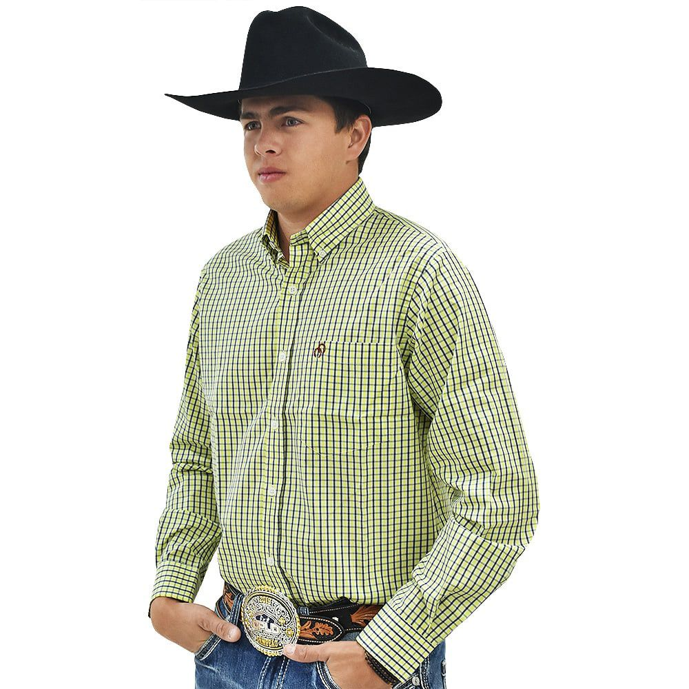 Camisa Cowboys Manga Longa Xadrez Amarelo, Branco e Azul