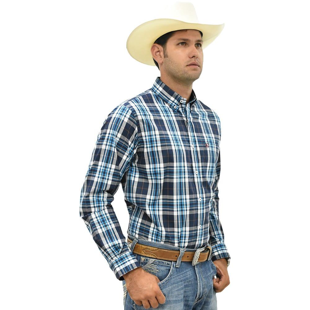 Camisa Cowboys Manga Longa Xadrez Azul, Branco e Laranja