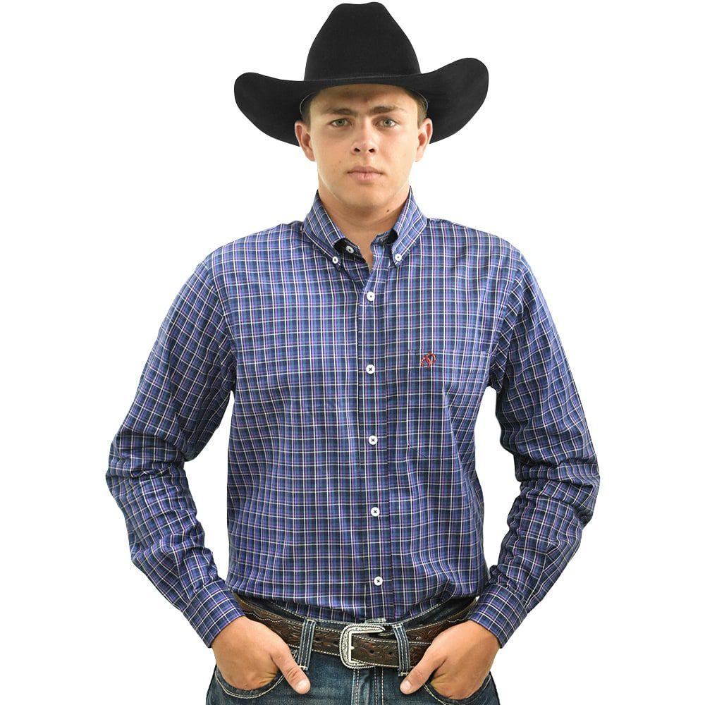 Camisa Cowboys Xadrez Azul, Roxo e Branco