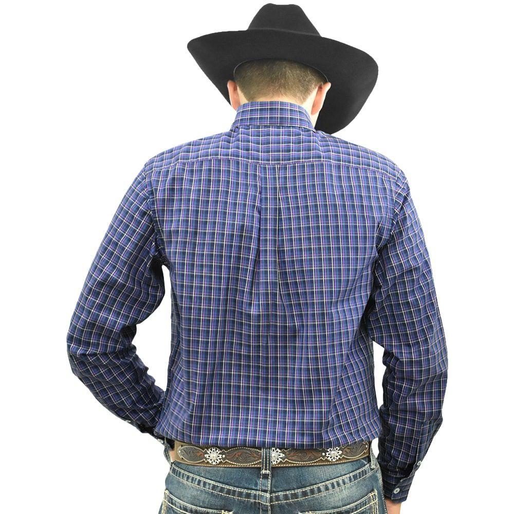 Camisa Cowboys Manga Longa Xadrez Azul, Roxo e Branco