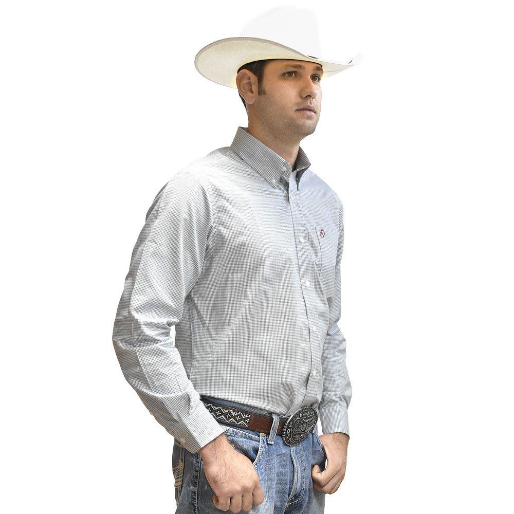 Camisa Cowboys Manga Longa Xadrez Azul, Verde e Branco