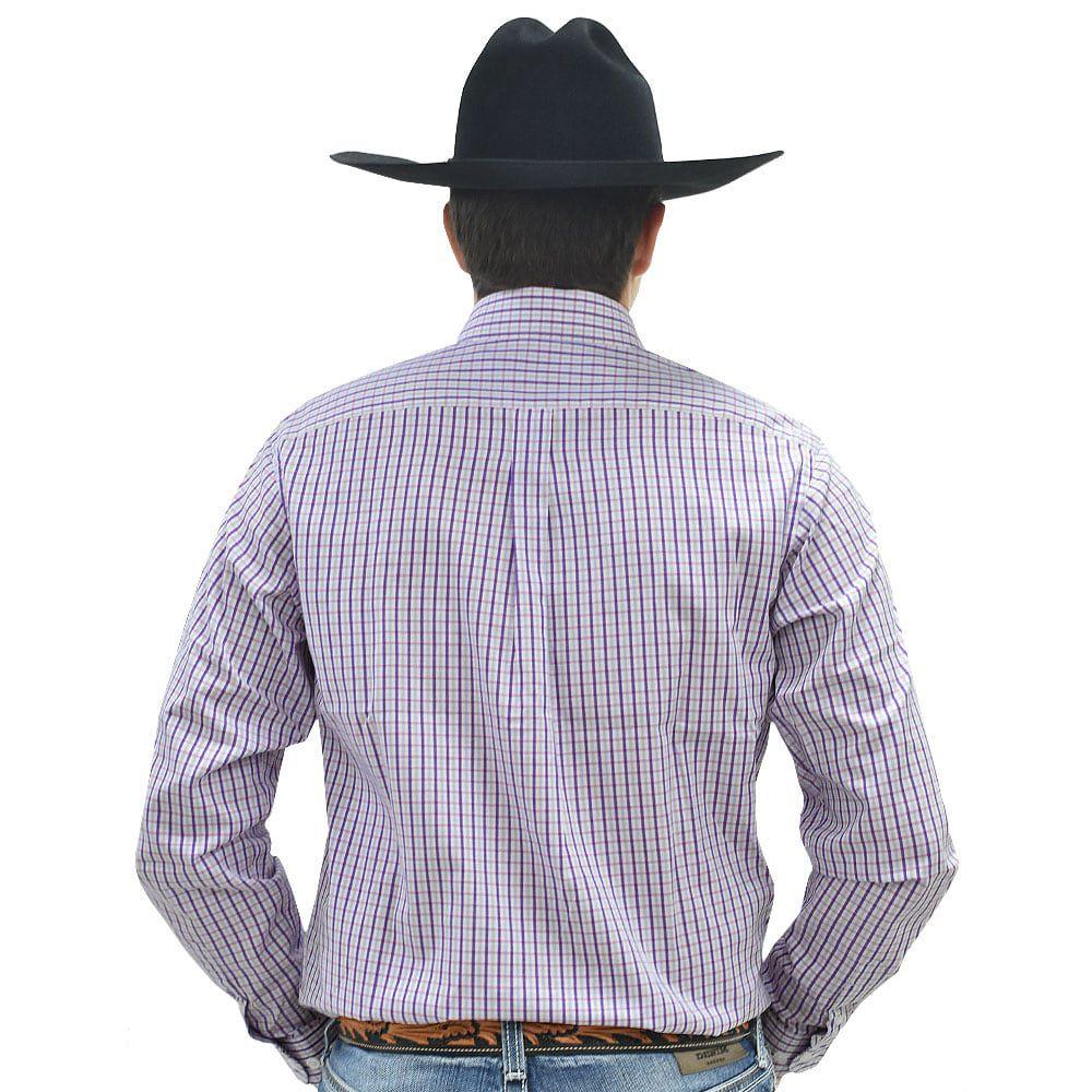 Camisa Cowboys Manga Longa Xadrez Rosa, Branco e Azul