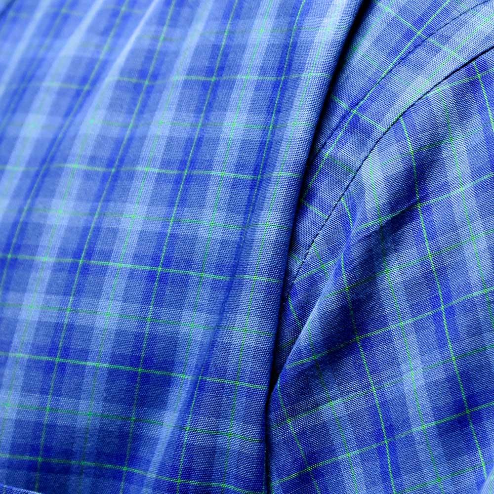 Camisa Cowboys Manga Longa Xadrez Tons de Azul