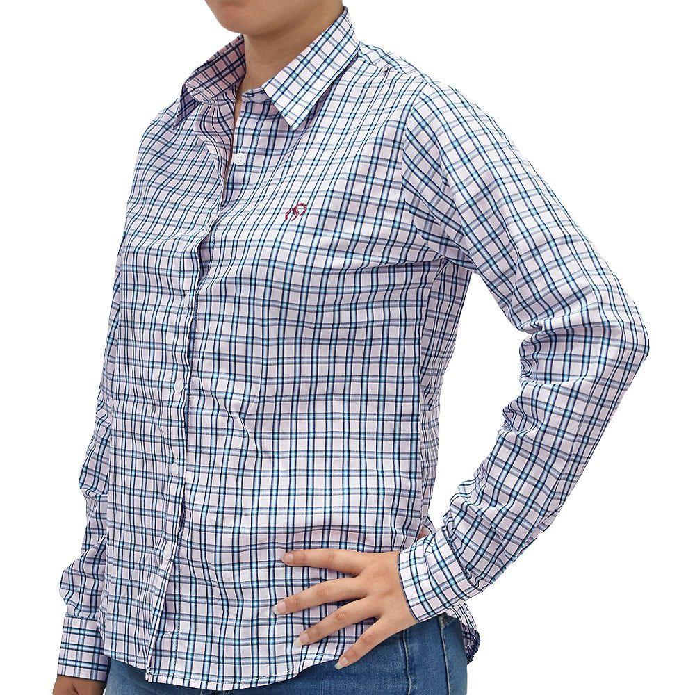 Camisa Feminina Cowboys Manga Longa Xadrez Rosa, Azul e Branco